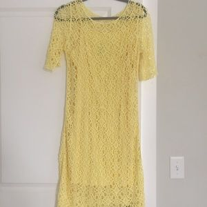 Maggie London Yellow Lined Lace Dress Med
